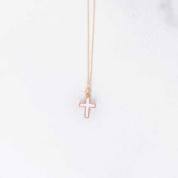 Light Pink Cross Charm Necklace