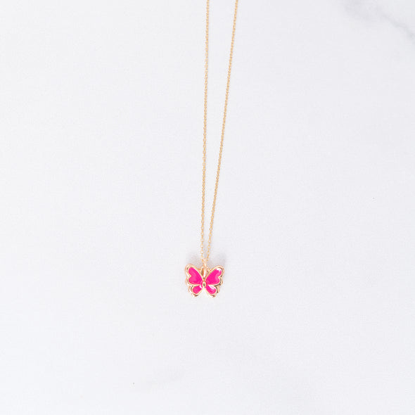Hot Pink Butterfly Charm Necklace