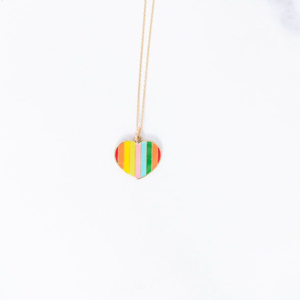 Rainbow Heart Charm Necklace