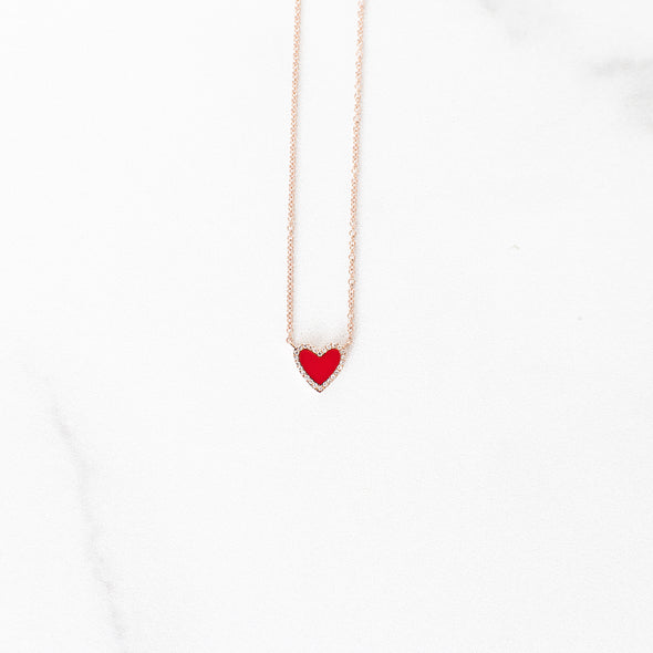 Red Enamel Diamond Heart Necklace | 14-Karat