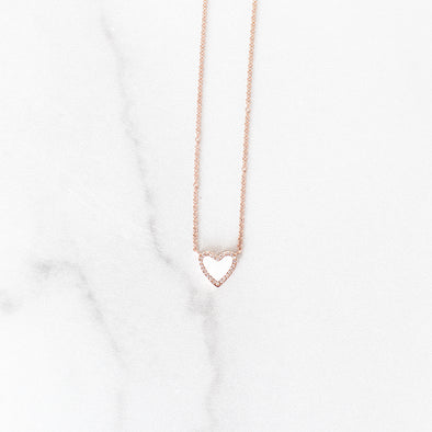 White Enamel Diamond Heart Necklace | 14-Karat