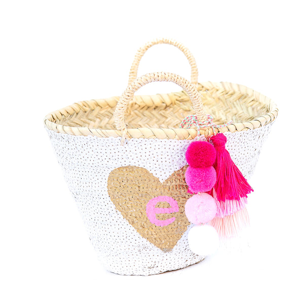 WHITE All-Sequin Beach Bag | Mini