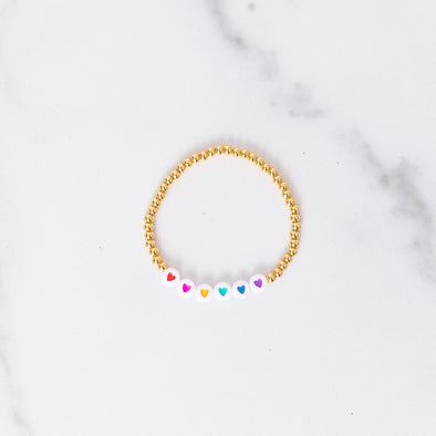Rainbow Heart Gold Bead Bracelet