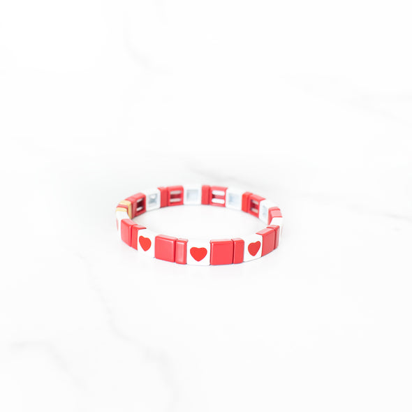 Red Hearts Tile Bracelet