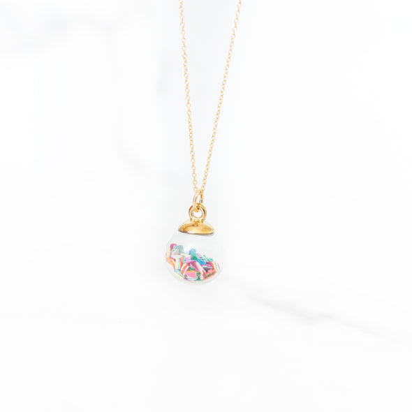 Rainbow Confetti Heart Charm Necklace