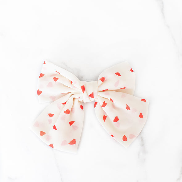 White + Red Hearts Bow