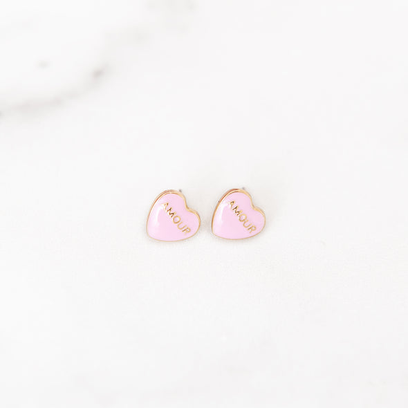 Conversation Heart Amour Stud Earring