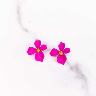 Hot Pink Tropical Flower Stud Earrings