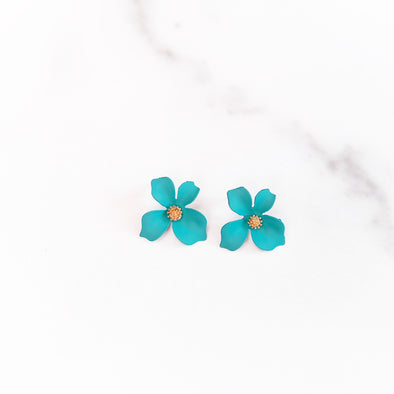 Turquoise Tropical Flower Stud Earring
