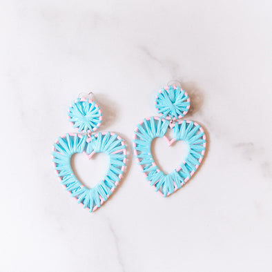 Turquoise Raffia Heart Earrings