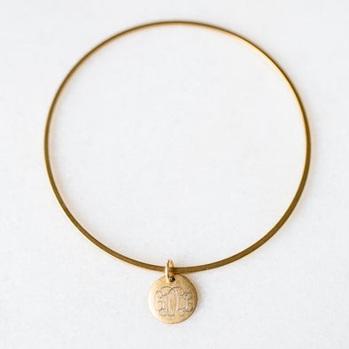 Antique Bangle with Personalized Disc