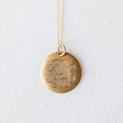 Antique Medium Disc Necklace for Baby and Child