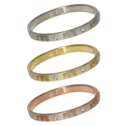 Signature Diamond Bangle with Three Monograms | 14-Karat