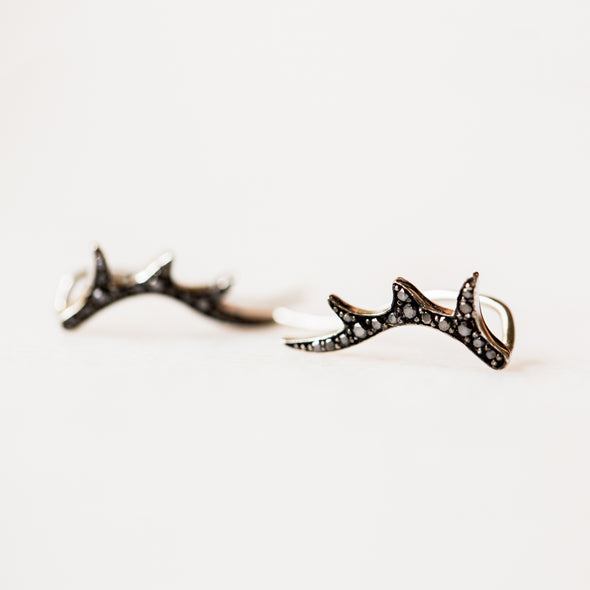 Black Diamond Antler Ear Crawlers | 14-Karat
