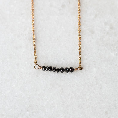 Black Diamond Bar Necklace | 14-Karat