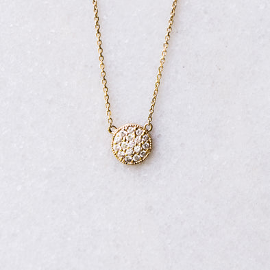 Diamond Disc Necklace | 14-Karat