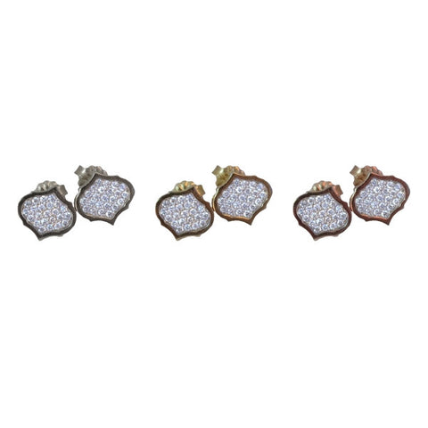 Diamond Crest Earrings | 14-Karat