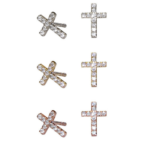 Diamond Cross Earrings | 14-Karat