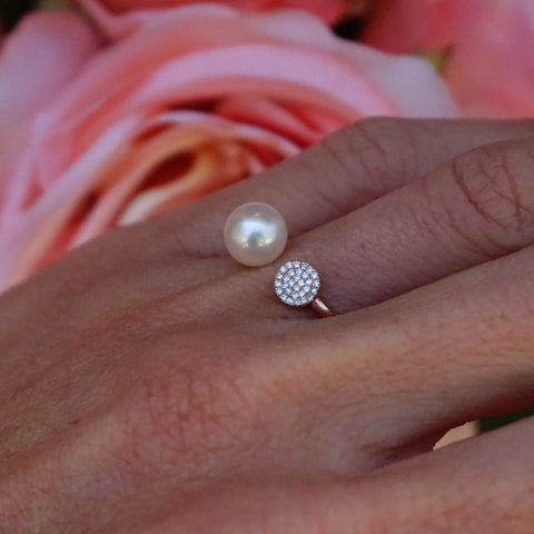 Mini Diamond Disc and Pearl Ring