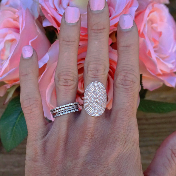 Diamond Oval Cocktail Ring