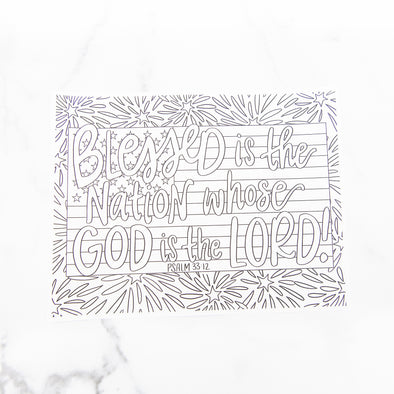 Psalm 33:12 Coloring Sheet