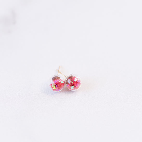 Rasberry Red | Mini Star Confetti Stud Earrings