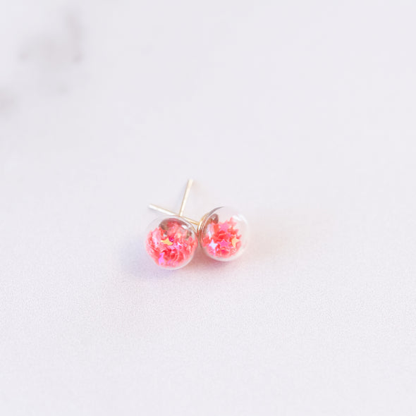 Hot Pink | Mini Star Confetti Stud Earrings