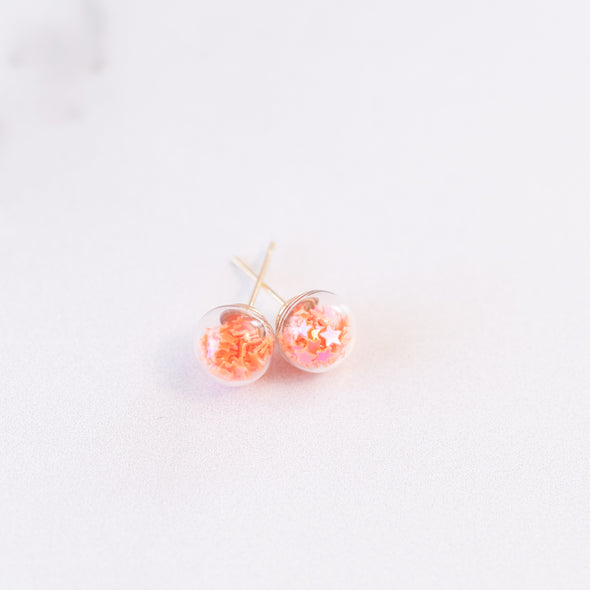 Orange | Mini Star Confetti Stud Earrings