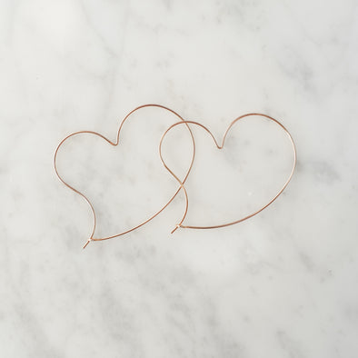 Large Rose Gold Open Heart Earrings