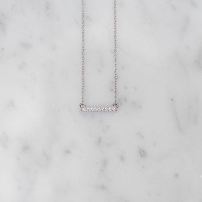 Petite Diamond Bar Necklace | 14-Karat