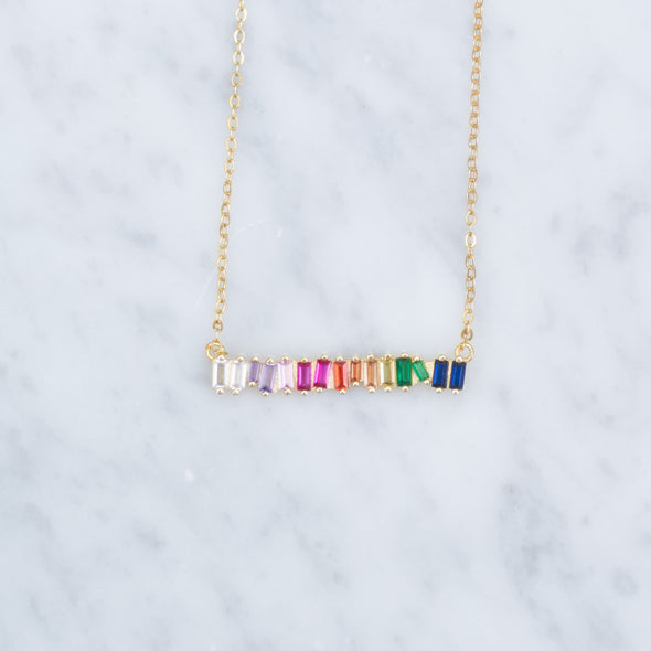Rainbow Baguette Necklace