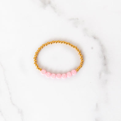 Pink Magical Gold Beaded Bracelet