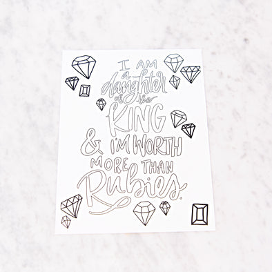 Proverbs 3:15 Coloring Sheet
