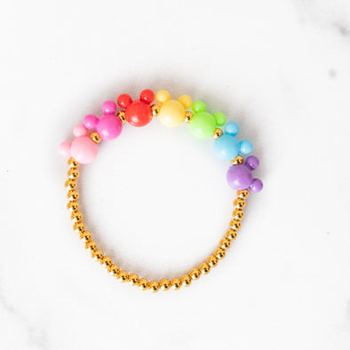 Rainbow Mouse Gold Beaded Bracelet