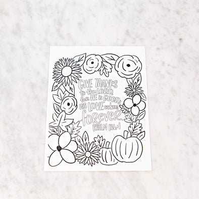Psalm 136:1 Thanksgiving Coloring Sheet
