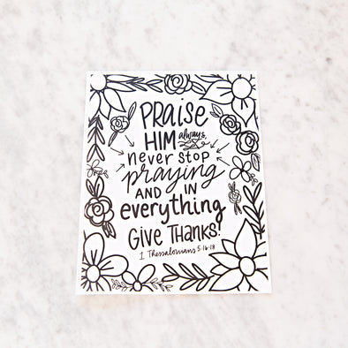 1 Thessalonians 5:16-18 Thanksgiving Coloring Sheet