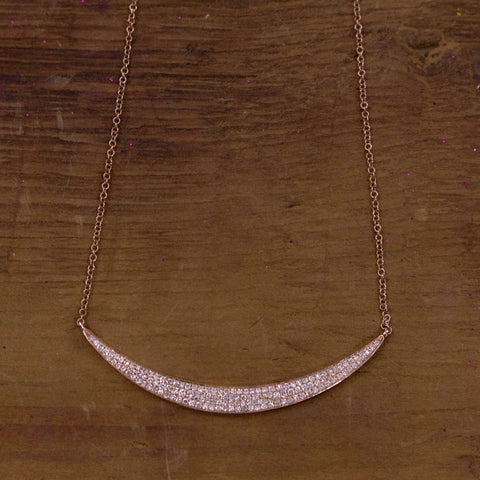 Diamond Bezeled Crescent Necklace