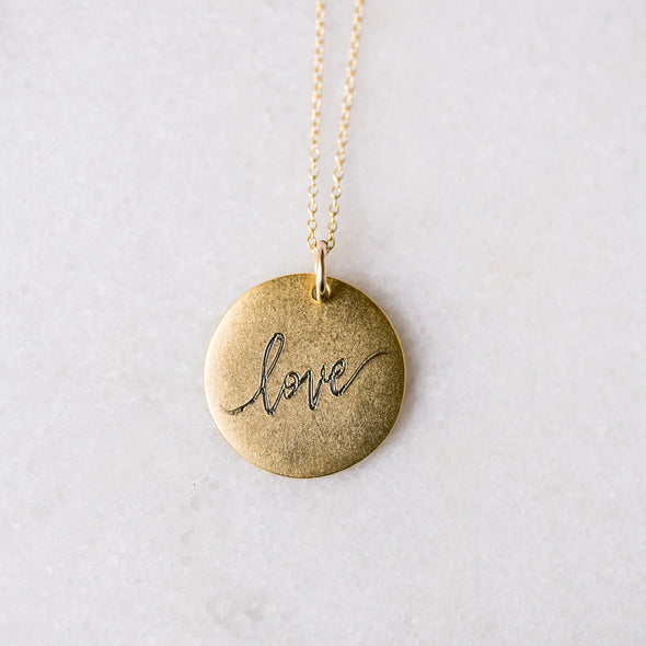 Antique Medium Disc with Love Calligraphy Necklace
