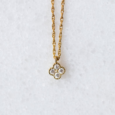 Mini CZ Clover Necklace