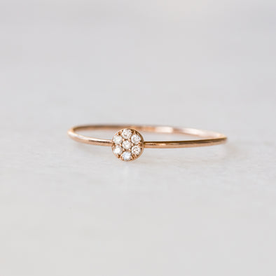 Mini Diamond Circle Ring | 14-Karat