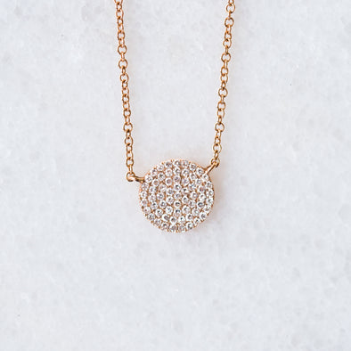 Mini Diamond Disc Necklace | 14-Karat
