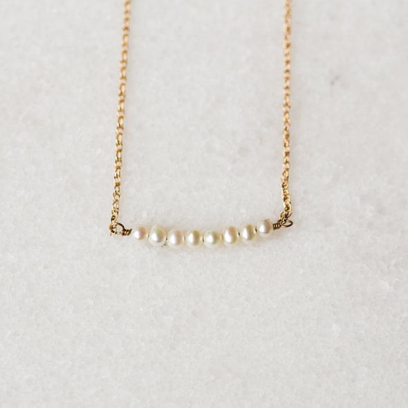 Pearl Bar Necklace | 14-Karat