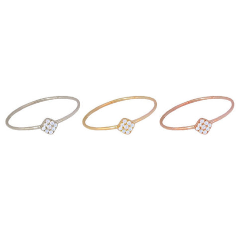 Mini Diamond Square Ring | 14-Karat