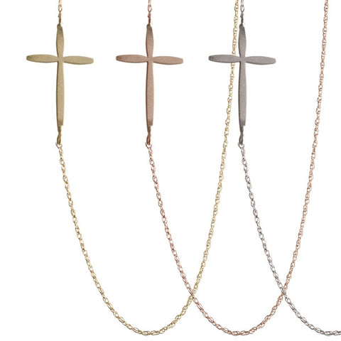 Large Sideways Cross Necklace | 14-Karat
