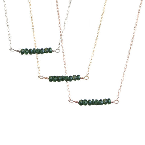 Emerald Bar Necklace | 14-Karat