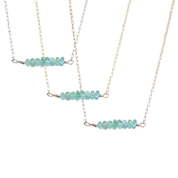 Mint Green Emerald Bar Necklace | 14-Karat