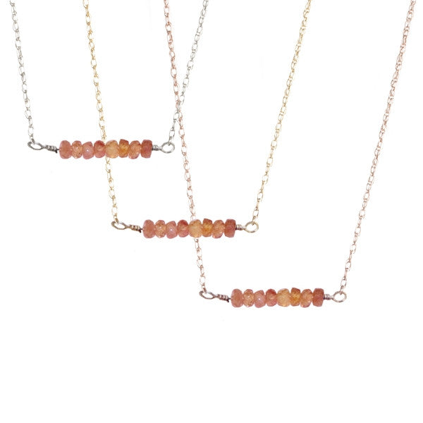 Orange Sapphire Bar Necklace | 14-Karat