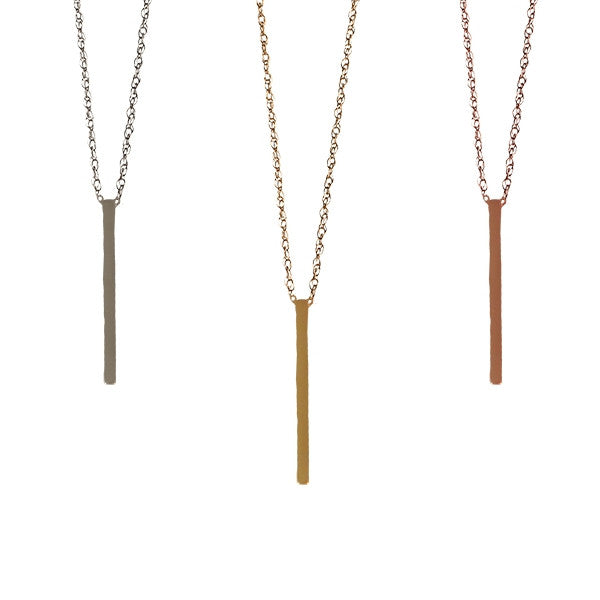 Vertical Bar Necklace | 14-Karat