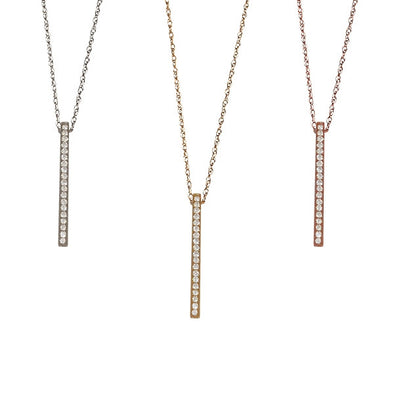 Diamond Vertical Bar Necklace | 14-Karat
