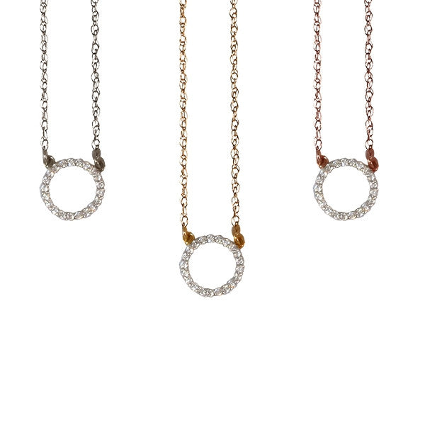 Open Diamond Circle Necklace | 14-Karat